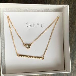 New Mahmu double gold bar and bezel CZ necklace